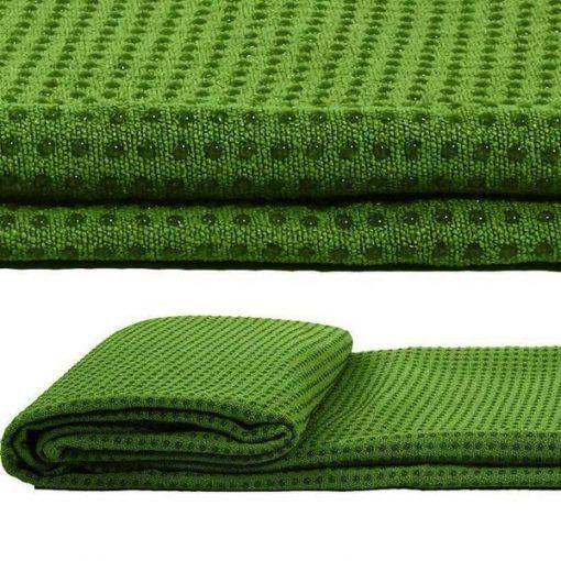 Khăn trải thảm tập yoga đính hạt silicon màu xanh lá