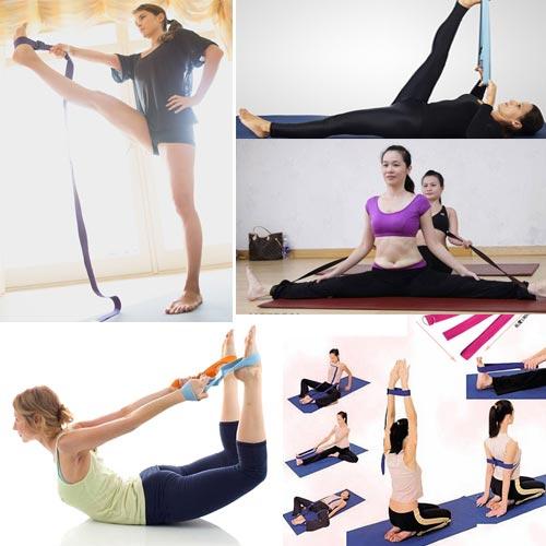 Tập yoga với dây đai hỗ trợ