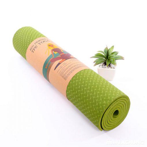 Thảm tập Yoga TPE 1 lớp 6mm YM-601L (Xanh lá)