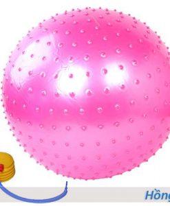Bóng tập Yoga/Gym có gai massage 65cm, 75cm - Màu hồng