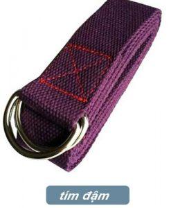 Dây đai hỗ trợ tập yoga sợi cotton - Tím đậm