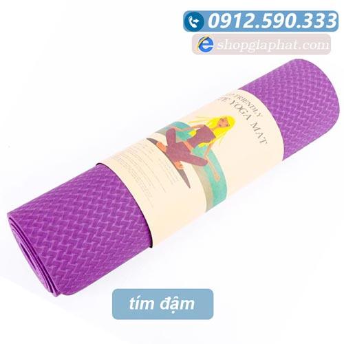 Thảm tập yoga đài loan TPE 6mm 1 lớp - Tím đậm