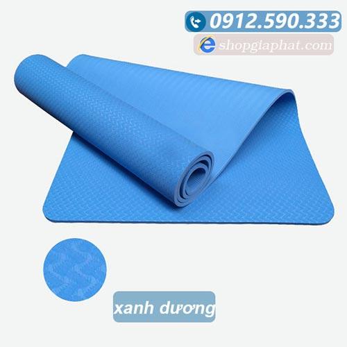 Thảm tập yoga đài loan TPE 6mm 1 lớp - Xanh dương