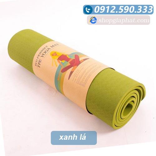 Thảm tập yoga đài loan TPE 6mm 1 lớp - Xanh lá