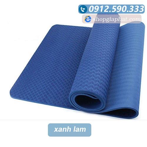Thảm tập yoga đài loan TPE 6mm 1 lớp - Xanh lam