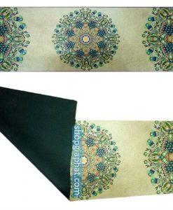Thảm tập yoga hoa văn Ấn Độ cao cấp - màu Da bò