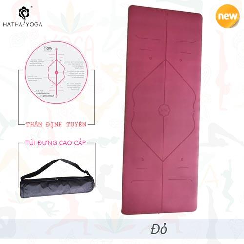 Thảm tập yoga định tuyến Hatha PU cao cấp - Đỏ