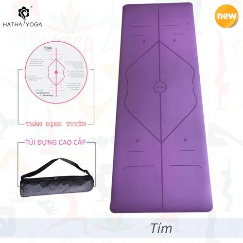 Thảm tập yoga định tuyến Hatha PU cao cấp - Tím
