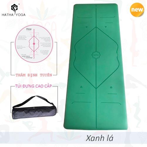 Thảm tập yoga định tuyến Hatha PU cao cấp - Xanh lá