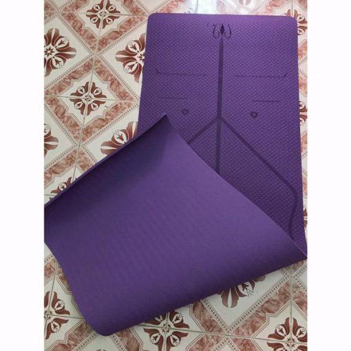 Thảm tập Yoga định tuyến Zen TPE 8mm - Tím đậm