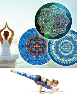 Thảm tập yoga tròn hoa văn đẹp