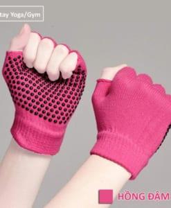 Găng tay tập yoga/gym xỏ ngón thun sợi cao cấp - Màu hồng đậm