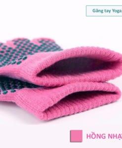 Găng tay tập yoga/gym xỏ ngón thun sợi cao cấp - Màu hồng nhạt