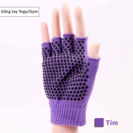 Găng tay tập yoga/gym xỏ ngón thun sợi cao cấp - Màu tím
