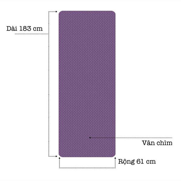 Thảm tập yoga TPE 8mm 1 lớp - kích thước thảm