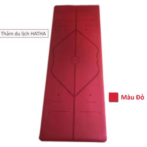 Thảm tập yoga du lịch Hatha dày 2mm - Màu đỏ
