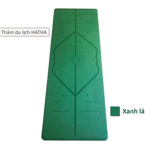 Thảm tập yoga du lịch Hatha dày 2mm - Màu xanh lá