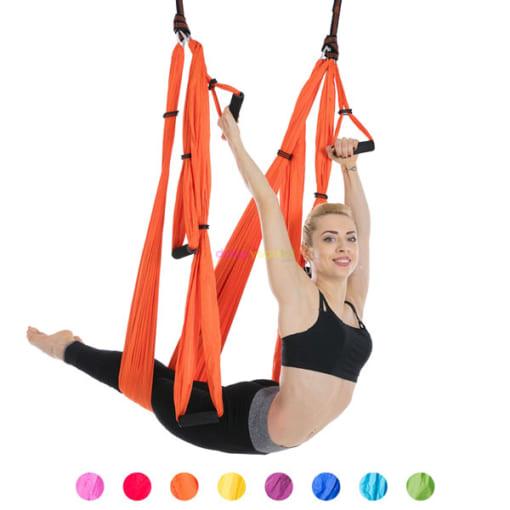 Bộ võng tập yoga bay vải dù có tay cầm