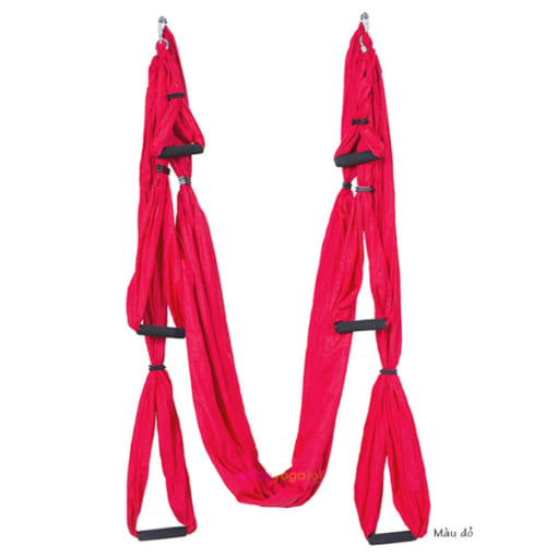 Bộ võng tập yoga bay vải dù có tay cầm - Màu đỏ