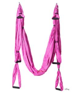 Bộ võng tập yoga bay vải dù có tay cầm - Màu hồng