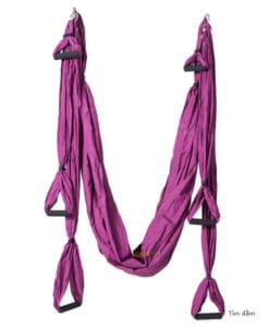 Bộ võng tập yoga bay vải dù có tay cầm - Màu tím đậm