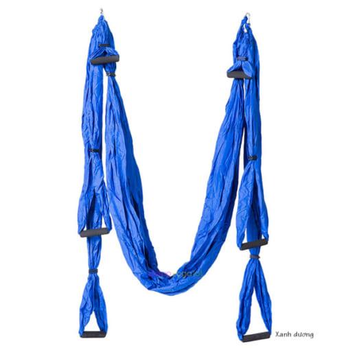 Bộ võng tập yoga bay vải dù có tay cầm - Màu xanh dương