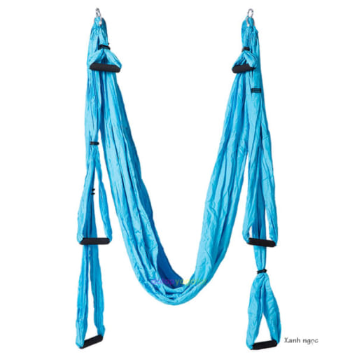Bộ võng tập yoga bay vải dù có tay cầm - Màu xanh ngọc