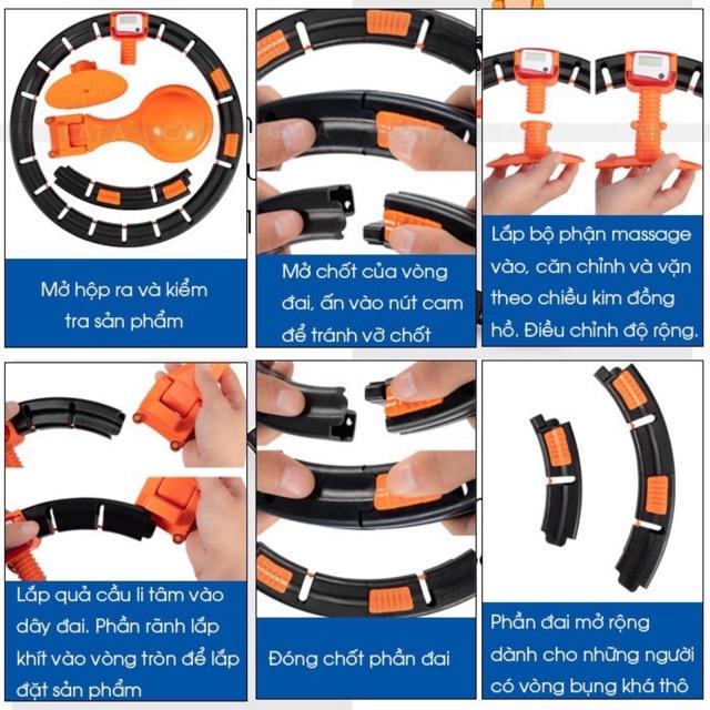 Hướng dẫn lắp đặt và sử dụng Vòng lắc eo thông minh Hula Hoop có đồng hồ đếm