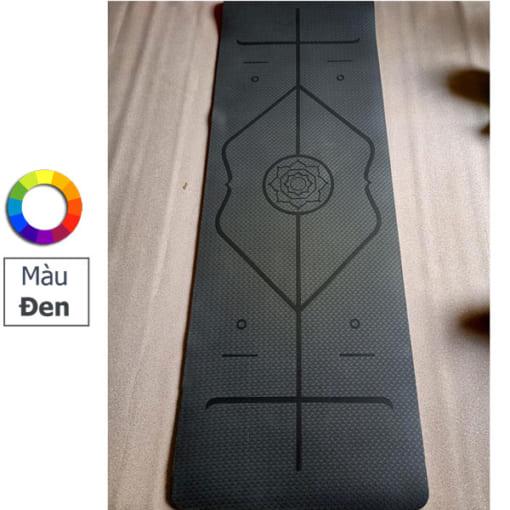Thảm tập yoga TPE 6mm 1 lớp định tuyến - Màu đen