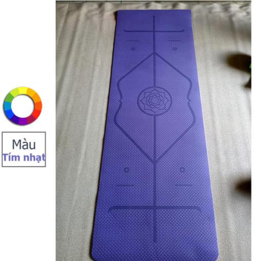 Thảm tập yoga TPE 6mm 1 lớp định tuyến - Màu tím nhạt
