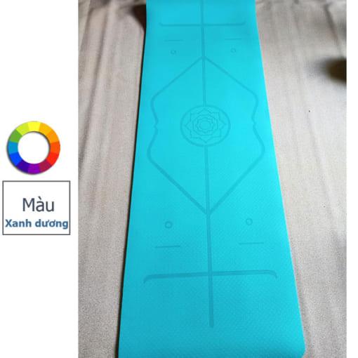 Thảm tập yoga TPE 6mm 1 lớp định tuyến - Màu xanh dương