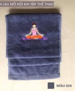 Khăn lau mồ hôi thể thao hình Yoga - Màu ghi