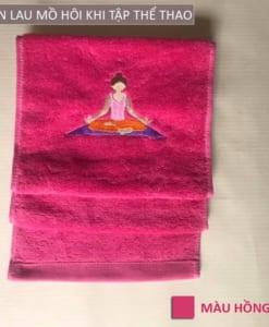 Khăn lau mồ hôi thể thao hình Yoga - Màu hồng