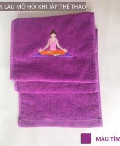 Khăn lau mồ hôi thể thao hình Yoga - Màu tím