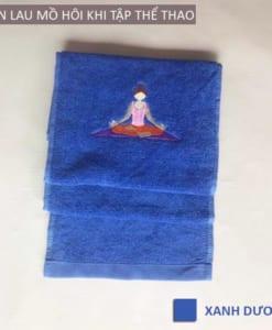 Khăn lau mồ hôi thể thao hình Yoga - Màu xanh dương