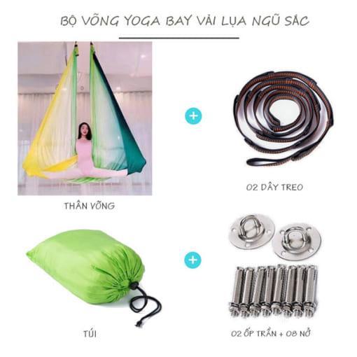 Bộ võng lụa Yoga bay ngũ sắc