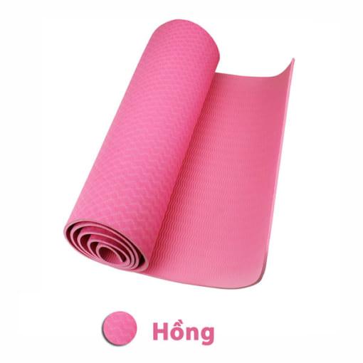 Thảm tập yoga TPE 6mm 1 lớp - Màu hồng