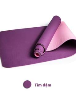 Thảm tập yoga TPE 6mm 2 lớp - Màu tím đậm