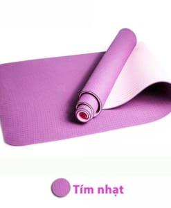 Thảm tập yoga TPE 6mm 2 lớp - Màu tím nhạt
